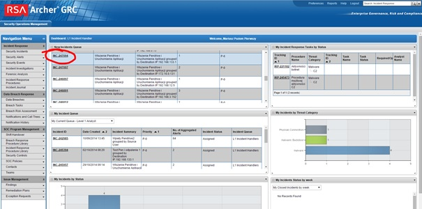 01. Widok systemu RSA Archer wSecurity Operations Center Mediareocvery
